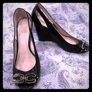 Coach Larchmont wedge heel sandals size 8.5 US